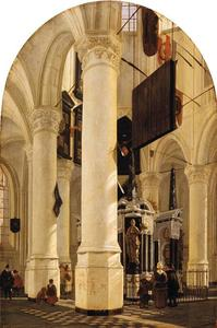Interieur van de Nieuwe Kerk in Delft met de graftombe van Willem de Zwijger, gezien vanuit het zuidoosten