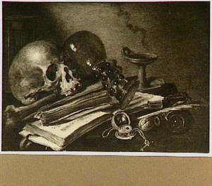 Vanitasstilleven met schedel, roemer en schrijfattributen