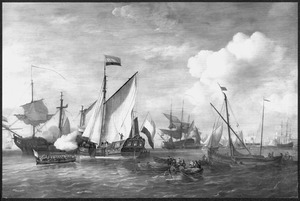 Ontvangst van een hoogeplaatst persoon aan boord van het Amsterdamse Admiraliteitsjacht op het IJ te Amsterdam