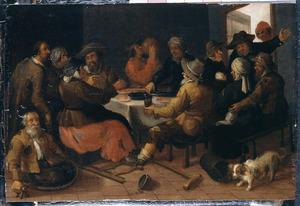 Boerengezelschap rondom een tafel