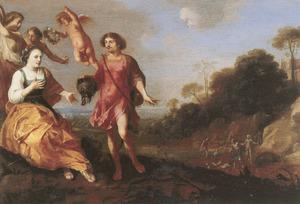 Dubbelportret van een man en vrouw als Meleager en Atalanta