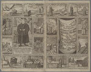 Historieprent met voorstellingen uit het leven van Luther