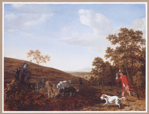 Heuvellandschap met jagers en honden op vossenjacht