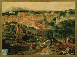 Landschap met de gelijkenis van de Barmhartige Samaritaan tegen het decor van de stad Rome (Lukas.10:25-37)