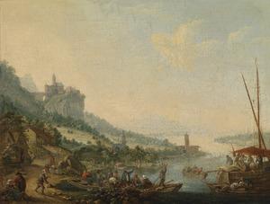 Rivierlandschap met schepen, een burcht in de verte