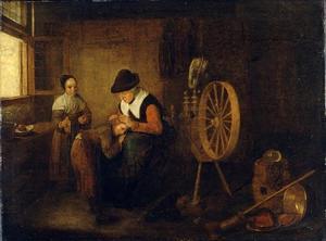 Interieur met een oude vrouw die een jongen ontluist en een meisje