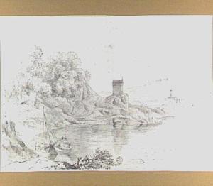Heuvelachtig rivierlandschap met kapelletje
