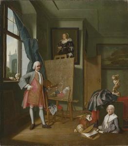 Zelfportret van Peter Jacob Horemans (1700-1776) in zijn atelier