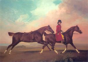 Twee van de voskleurige rijpaarden van de Prince of Wales, met William Anderson, de stalknecht