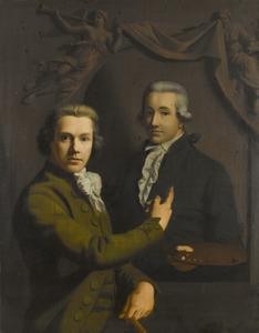Zelfportret van Willem Bartel van der Kooi (1768-1836) met het portret van Dirk Jacobsz. Ploegsma (1769-1791)