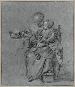 Zittende moeder met kind, pap voerend