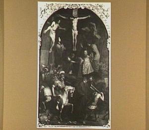 Christus aan het kruis, met omstanders, waaronder de opdrachtgever
