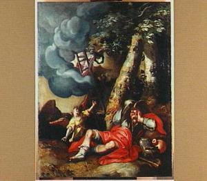 De droom van Jacob te Betel: engelen dalen langs een ladder uit de hemel neer op aarde  (Genesis 28:14-22)