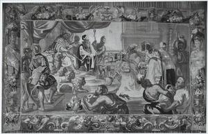 De koningin van Seba komt met een talrijk gevolg voor Salomo (1 Koningen 10:1-2)