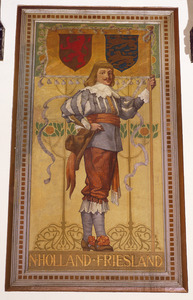 Schutter met vaandel voorzien van de wapens van de provincies Noord-Holland en Friesland