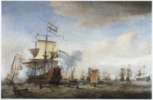 Krijgsraad op de 'Eendraght', het vlaggeschip van Baron van Wassenaer Obdam, op de rede van Texel, 24 mei 1665, voor de Zeeslag bij Lowestoft (13 juni 1665)