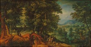 Boslandschap met jagergezelschap en een elegant koppel bij een brug