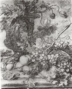 Stilleven met bloemen en vruchten op een stenen plint, links in de achtergrond een vaas