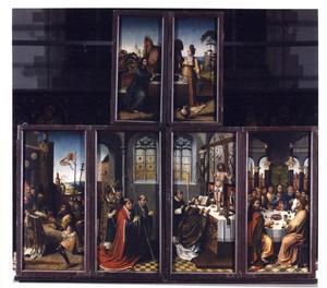 Christus en de Samaritaanse vrouw (buitenzijde bovenluiken); Melchisedek zegent Abraham (buitenzijde buitenste linkerluik); De Mis van Gregorius (buitenzijde binnenste paar luiken); Het Laatste Avondmaal (buitenzijde buitenste rechterluik)