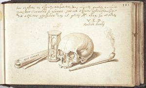 Vanitasstilleven met schedel en zandloper