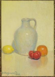 Stilleven met grijs kannetje, citroen, tomaat en sinaasappel