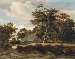 Landschap met boerderij en korenveld onder bomen