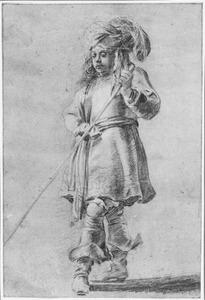 Staande man in oriëntaalse kleding met staf
