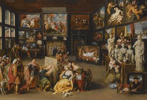Alexander de Grote kijkt toe, hoe Apelles Campaspe schildert
