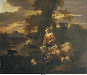 Zuidelijk landschap met herderin en schapen