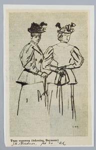 Twee vrouwen in wandelkostuum