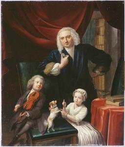 Portret van Jan van Wageningen (1704-1756) met zijn kinderen