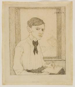 Zelfportret, driekwart naar rechts, tekenend voor het raam