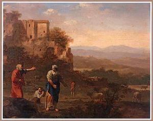 Italianiserend landschap met Elia , die de weduwe van Sarefat en haar zoon ontmoet aan de stadspoort en om eten en drinken vraagt (1 Koningen 17:10-11)