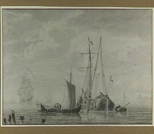 Schepen voor de kust, op de voorgrond vissers