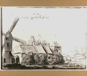 Landschap met molen en boerderij in Noord-Holland