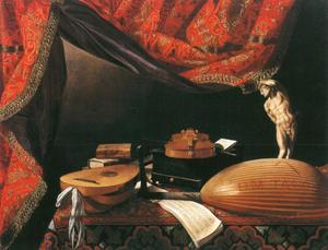 Een stilleven met muziekinstrumenten, een statuette, een muziekboek en andere boeken