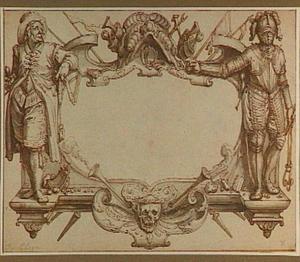 Cartouche met twee ruiters en attributen van de cavalerie