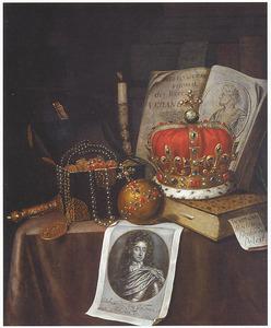 Vanitasstilleven met regalia en prent met portret van koning Willem III van Engeland (1650-1702)