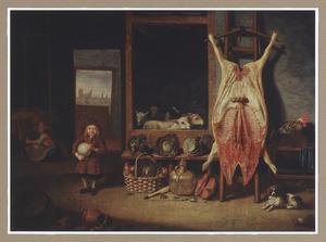 Stalinterieur met een jongen met varkensblaas naast een opgespannen varken met door de open deur  een gezicht op Dordrecht