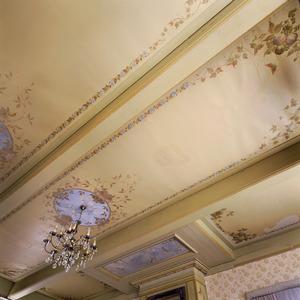 Plafond voorzien van medaillons met vogels en vruchten
