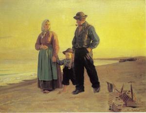 Vissersfamilie op het strand bij zonsondergang