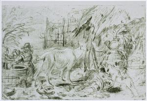 Boerenerf met geit, hond en kinderen bij een waterput