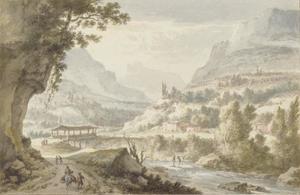 Berglandschap met overdekte brug en stroomversnelling