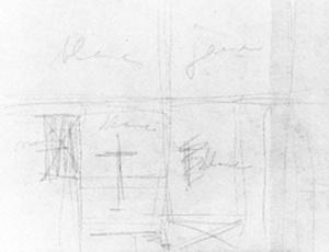Sheet I: sketch for a rectangle composition with color indications
