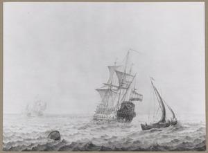 Zeegezicht met het Hollandse oorlogsschip Utregt en andere schepen