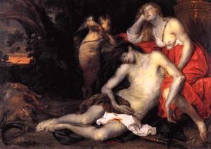 Venus treurend bij het lichaam van Adonis
