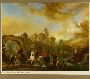Landschap met paardenwed bij een brug