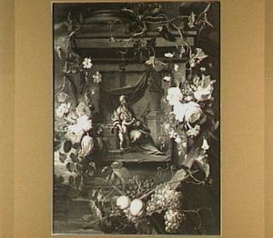 Voorstelling van Maria en Christus als kind omringd door een bloemen- en vruchtenkrans