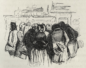 Belangstellend publiek op een tentoonstelling van levende meesters