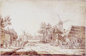 Gezicht op Haarlem vanaf de Zijlweg